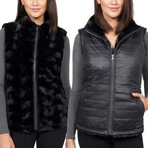 NWT Nicole Miller Reversible Faux Fur Lined Vest